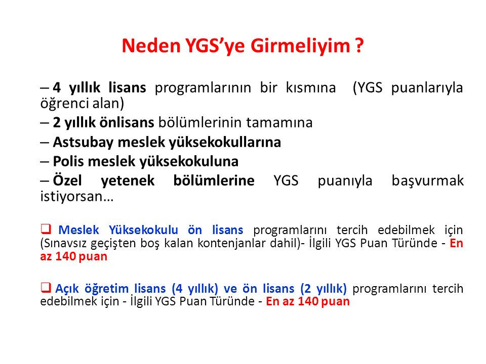 Neden YGS'ye Girmeliyim