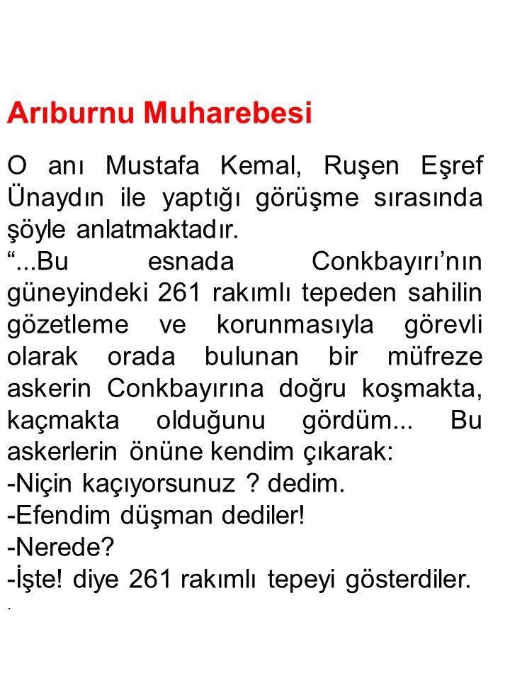 Arıburnu Muharebesi O anı Mustafa Kemal, Ruşen Eşref Ünaydın ile yaptığı görüşme sırasında şöyle anlatmaktadır.