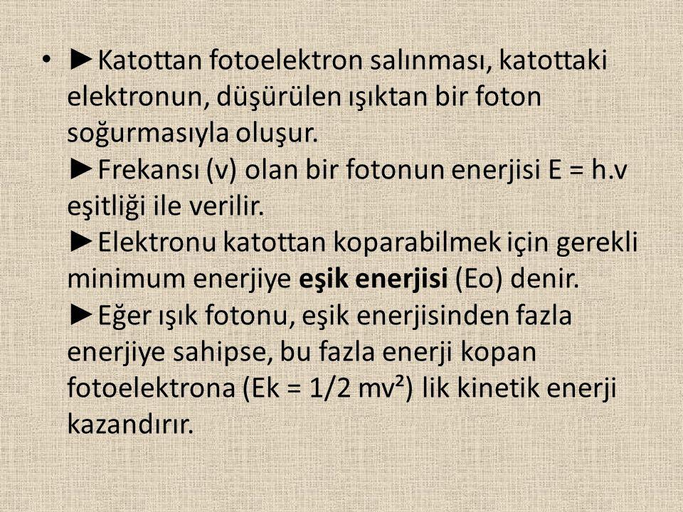 ►Katottan fotoelektron salınması, katottaki elektronun, düşürülen ışıktan bir foton soğurmasıyla oluşur.