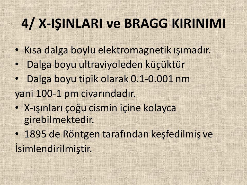 4/ X-IŞINLARI ve BRAGG KIRINIMI