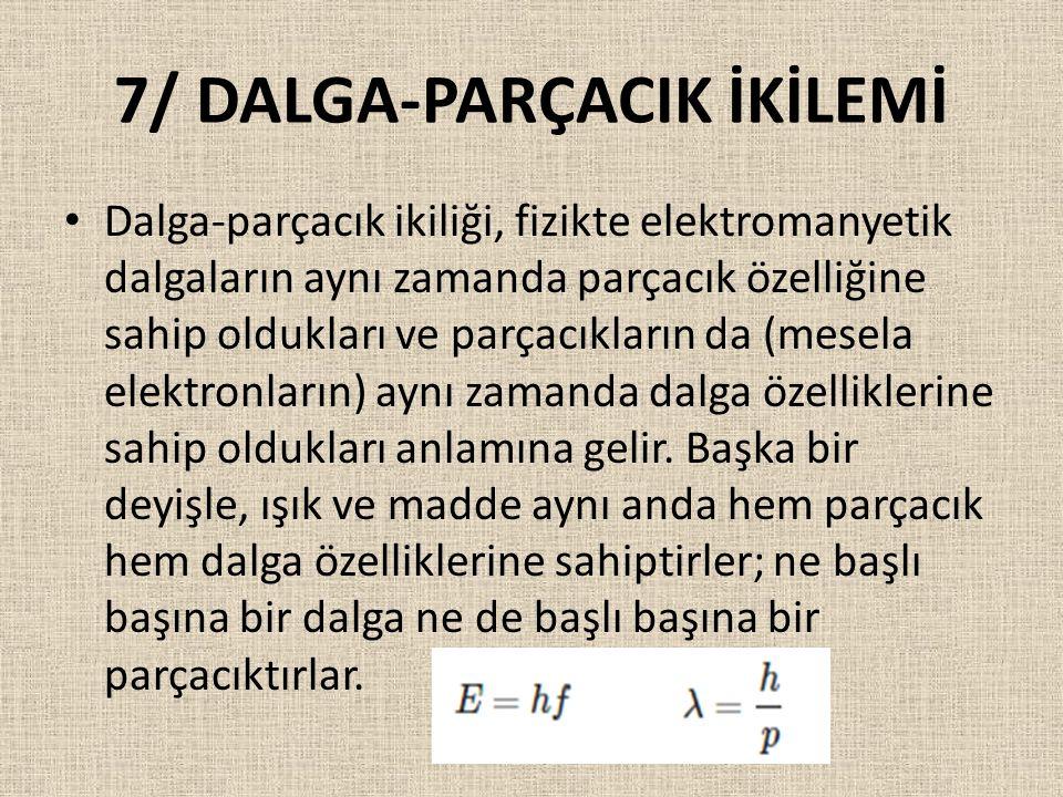 7/ DALGA-PARÇACIK İKİLEMİ