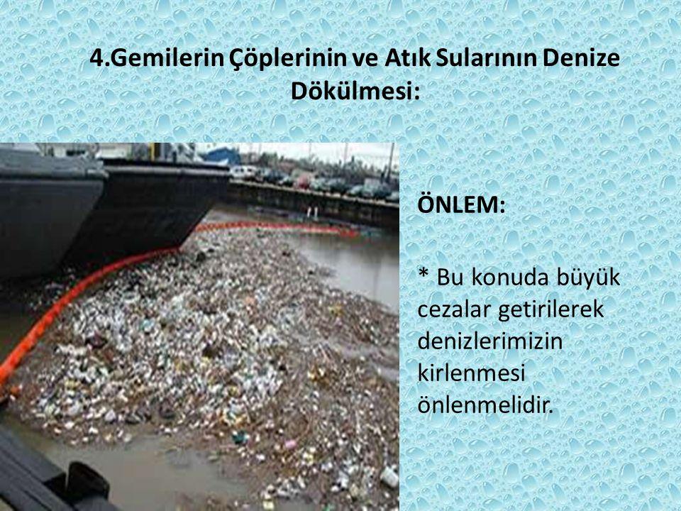 4.Gemilerin Çöplerinin ve Atık Sularının Denize Dökülmesi: