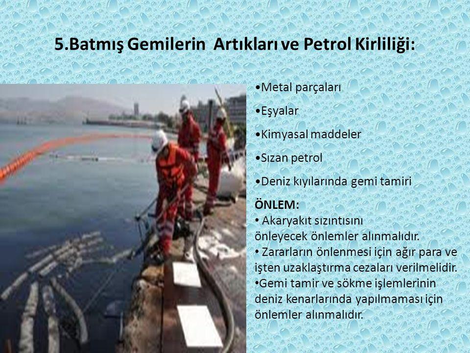 5.Batmış Gemilerin Artıkları ve Petrol Kirliliği: