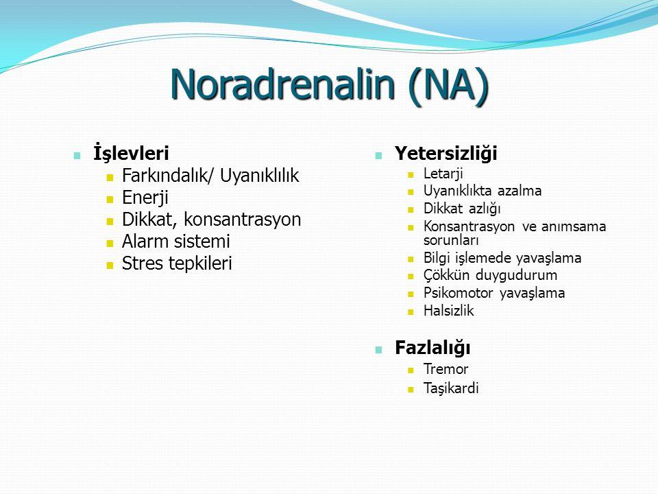 Noradrenalin (NA) İşlevleri Farkındalık/ Uyanıklılık Enerji