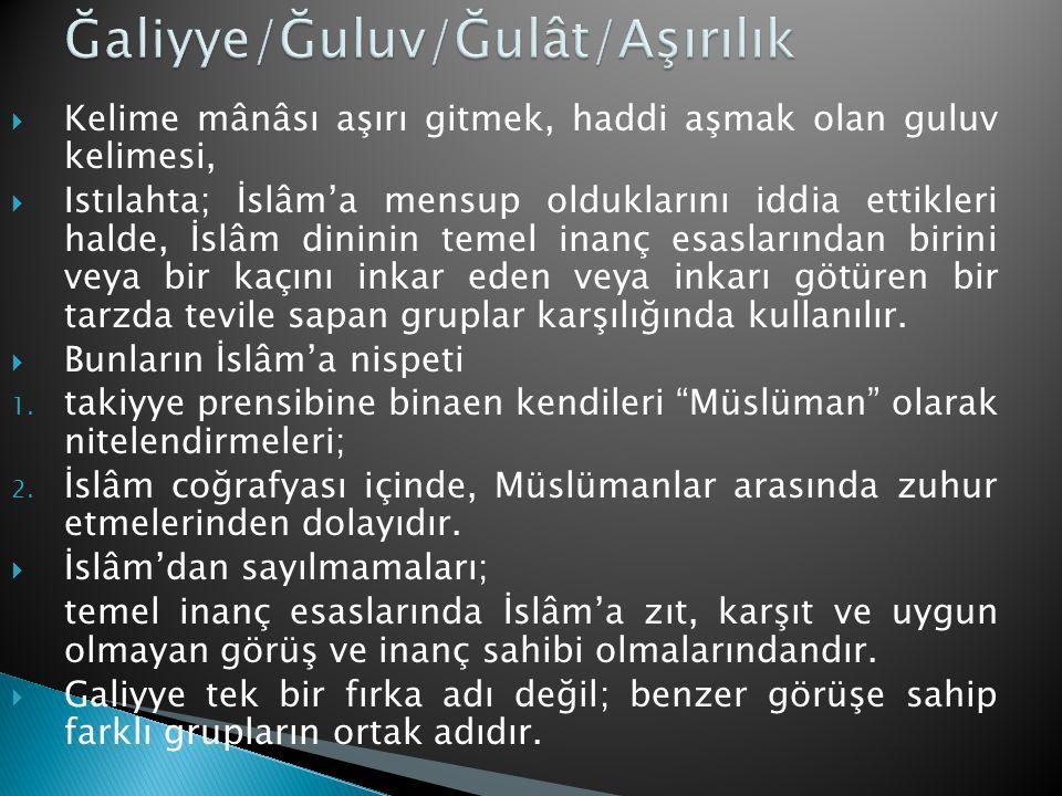 Ğaliyye/Ğuluv/Ğulât/Aşırılık