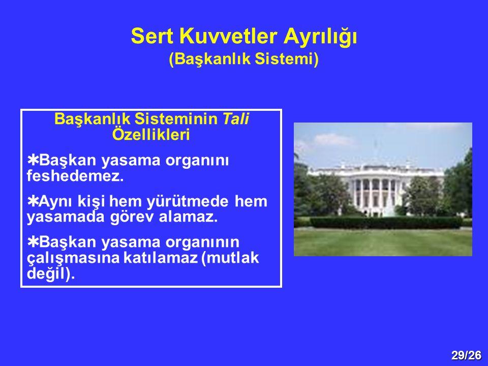 Sert Kuvvetler Ayrılığı (Başkanlık Sistemi)