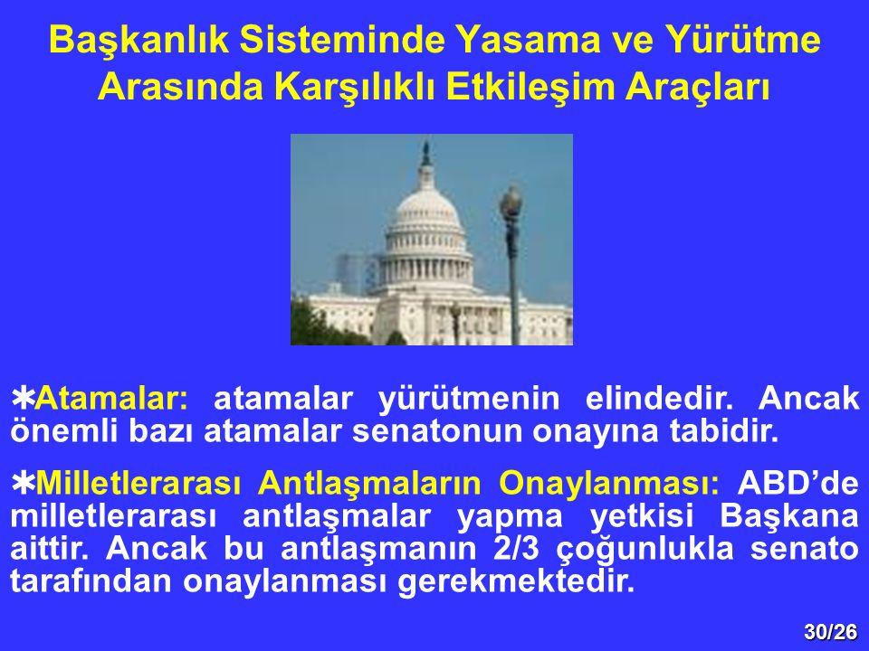Başkanlık Sisteminde Yasama ve Yürütme Arasında Karşılıklı Etkileşim Araçları