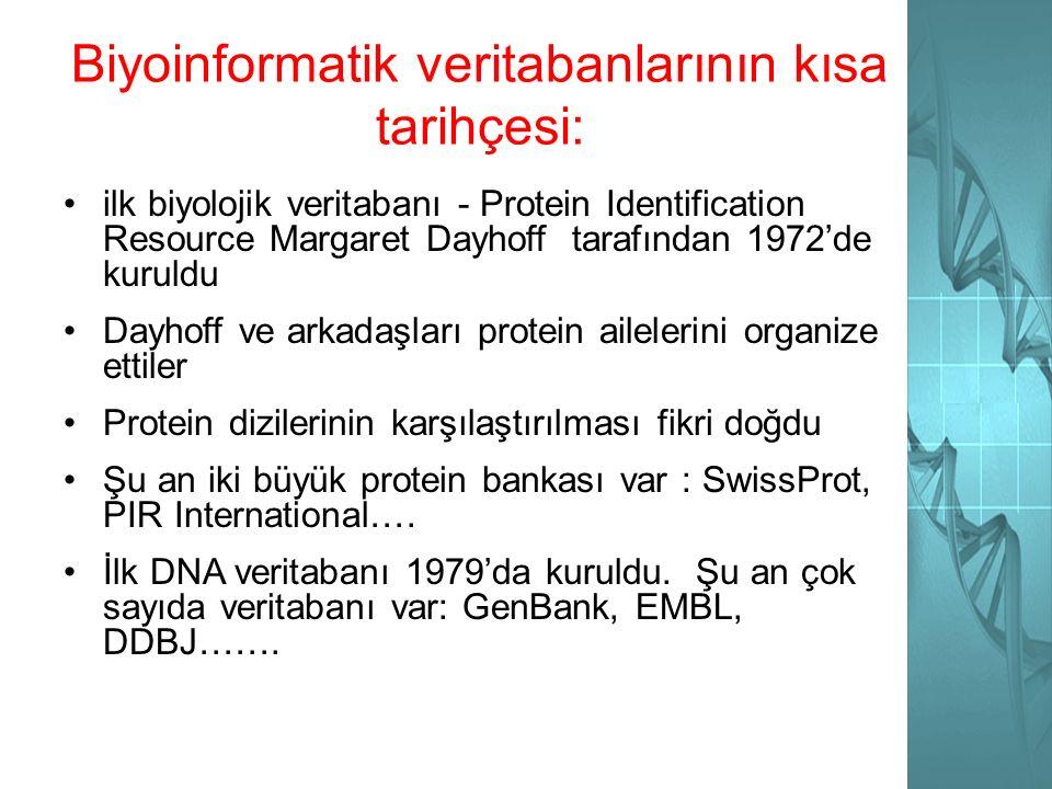 Biyoinformatik veritabanlarının kısa tarihçesi: