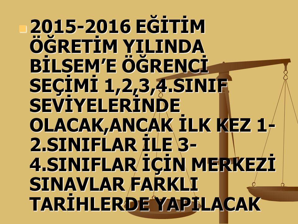 2015-2016 EĞİTİM ÖĞRETİM YILINDA BİLSEM'E ÖĞRENCİ SEÇİMİ 1,2,3,4