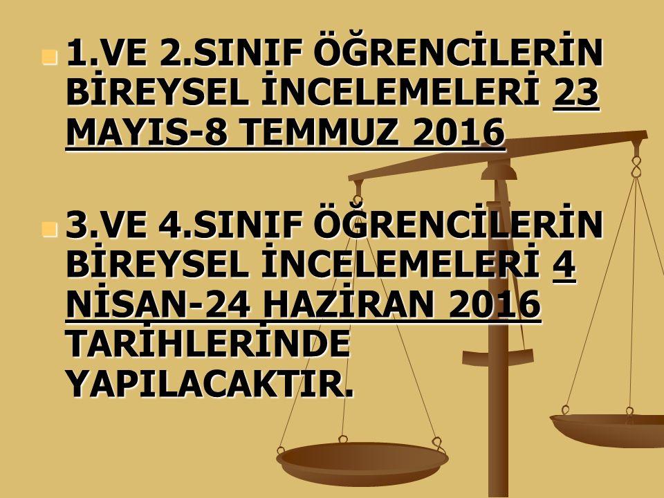 1.VE 2.SINIF ÖĞRENCİLERİN BİREYSEL İNCELEMELERİ 23 MAYIS-8 TEMMUZ 2016