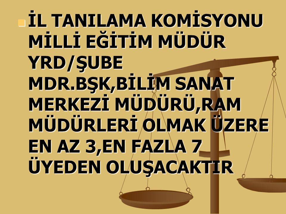 İL TANILAMA KOMİSYONU MİLLİ EĞİTİM MÜDÜR YRD/ŞUBE MDR
