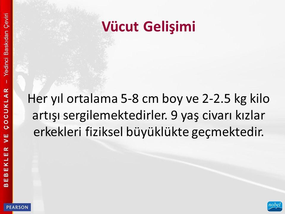 Vücut Gelişimi Her yıl ortalama 5-8 cm boy ve 2-2.5 kg kilo artışı sergilemektedirler.