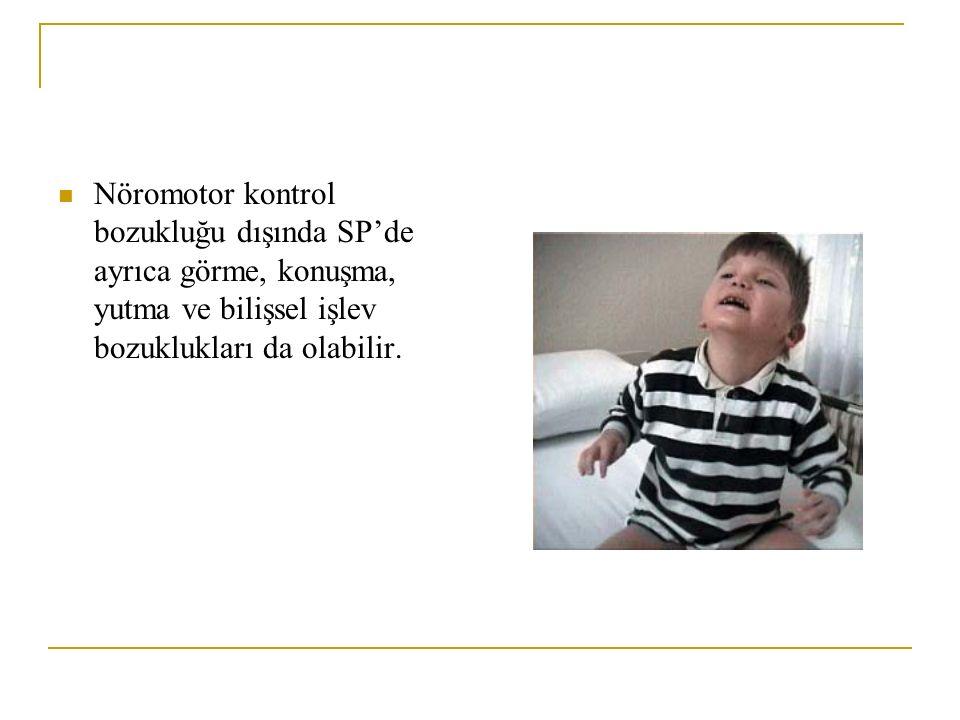 Nöromotor kontrol bozukluğu dışında SP'de ayrıca görme, konuşma, yutma ve bilişsel işlev bozuklukları da olabilir.
