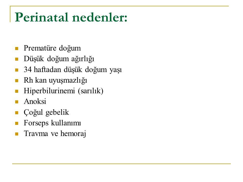 Perinatal nedenler: Prematüre doğum Düşük doğum ağırlığı