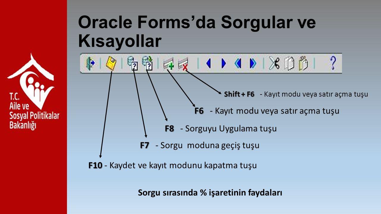 Oracle Forms'da Sorgular ve Kısayollar