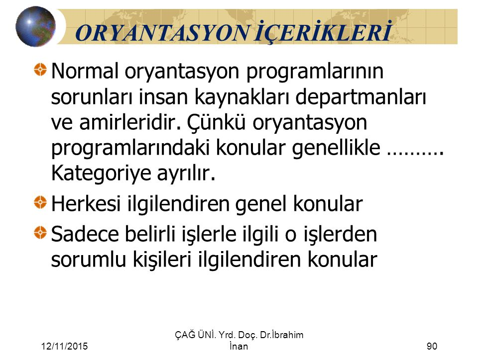 ORYANTASYON İÇERİKLERİ