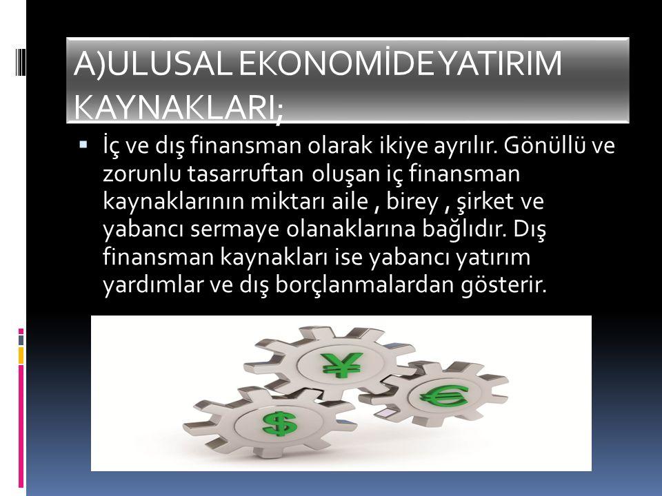A)ULUSAL EKONOMİDE YATIRIM KAYNAKLARI;