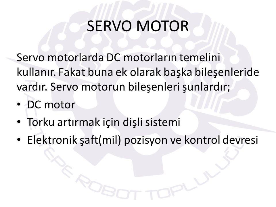 SERVO MOTOR Servo motorlarda DC motorların temelini kullanır. Fakat buna ek olarak başka bileşenleride vardır. Servo motorun bileşenleri şunlardır;