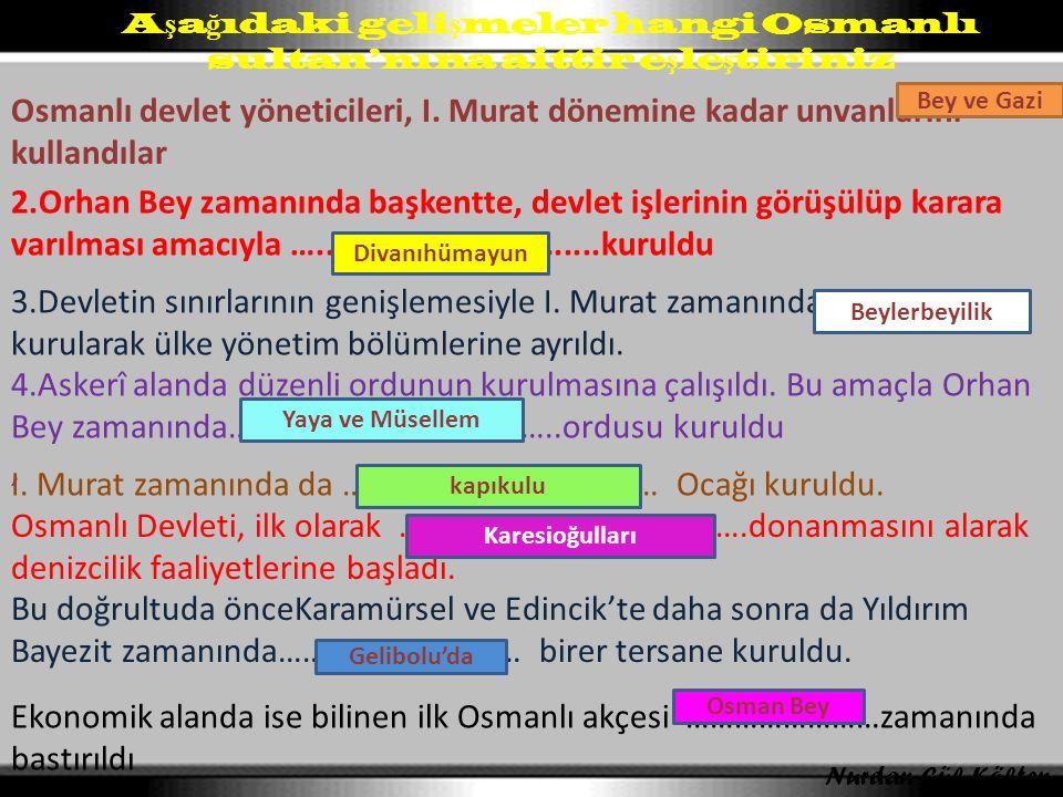 Aşağıdaki gelişmeler hangi Osmanlı sultan'nına aittir eşleştiriniz
