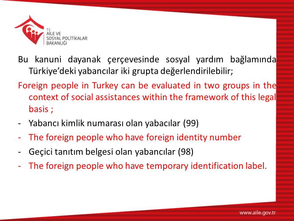 Bu kanuni dayanak çerçevesinde sosyal yardım bağlamında Türkiye'deki yabancılar iki grupta değerlendirilebilir;