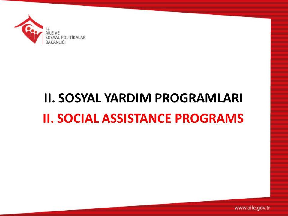 II. SOSYAL YARDIM PROGRAMLARI II. SOCIAL ASSISTANCE PROGRAMS