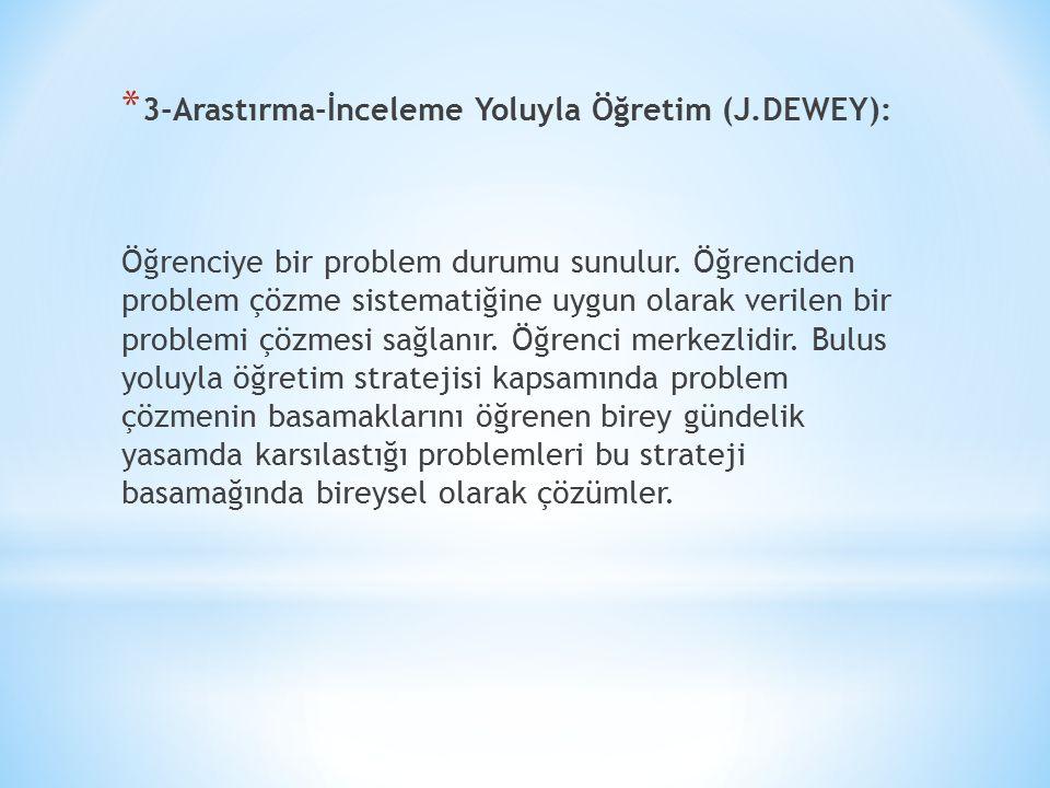 3-Arastırma-İnceleme Yoluyla Öğretim (J.DEWEY):
