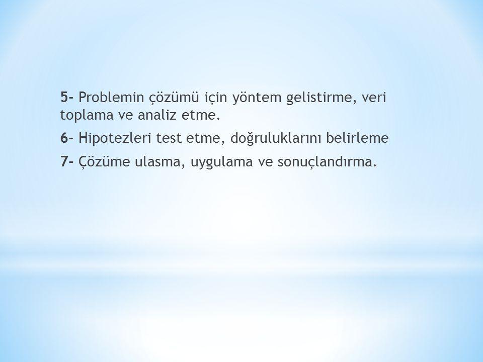 5- Problemin çözümü için yöntem gelistirme, veri toplama ve analiz etme.