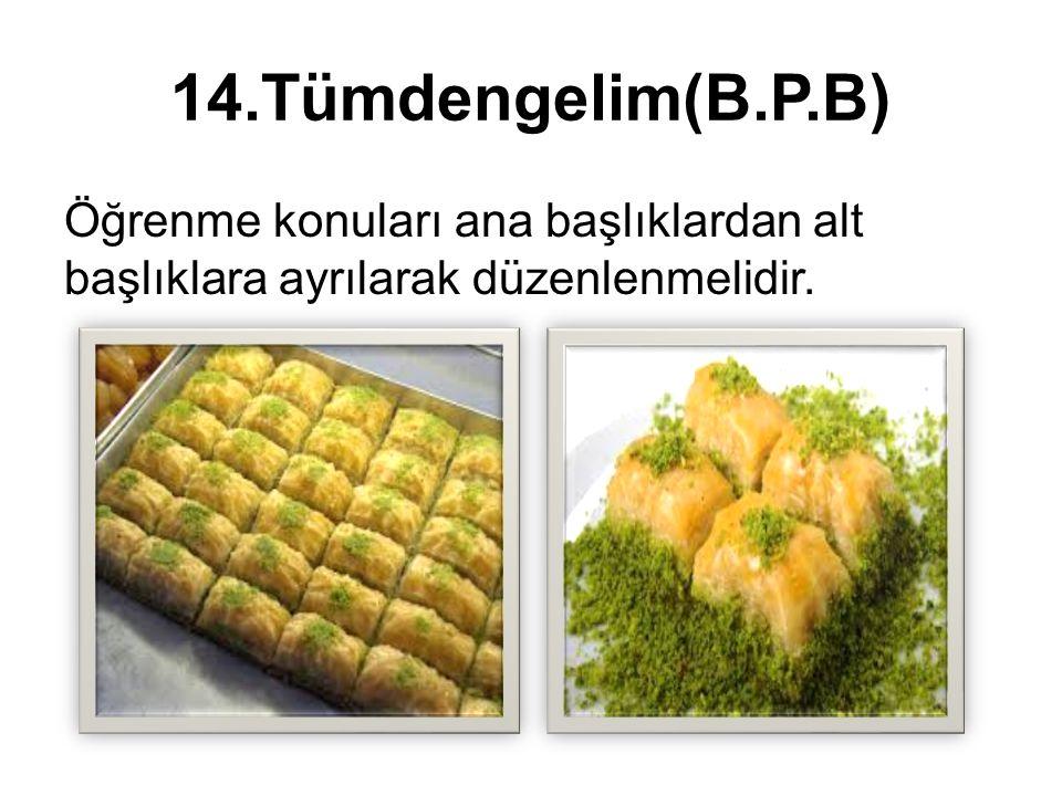 14.Tümdengelim(B.P.B) Öğrenme konuları ana başlıklardan alt başlıklara ayrılarak düzenlenmelidir.