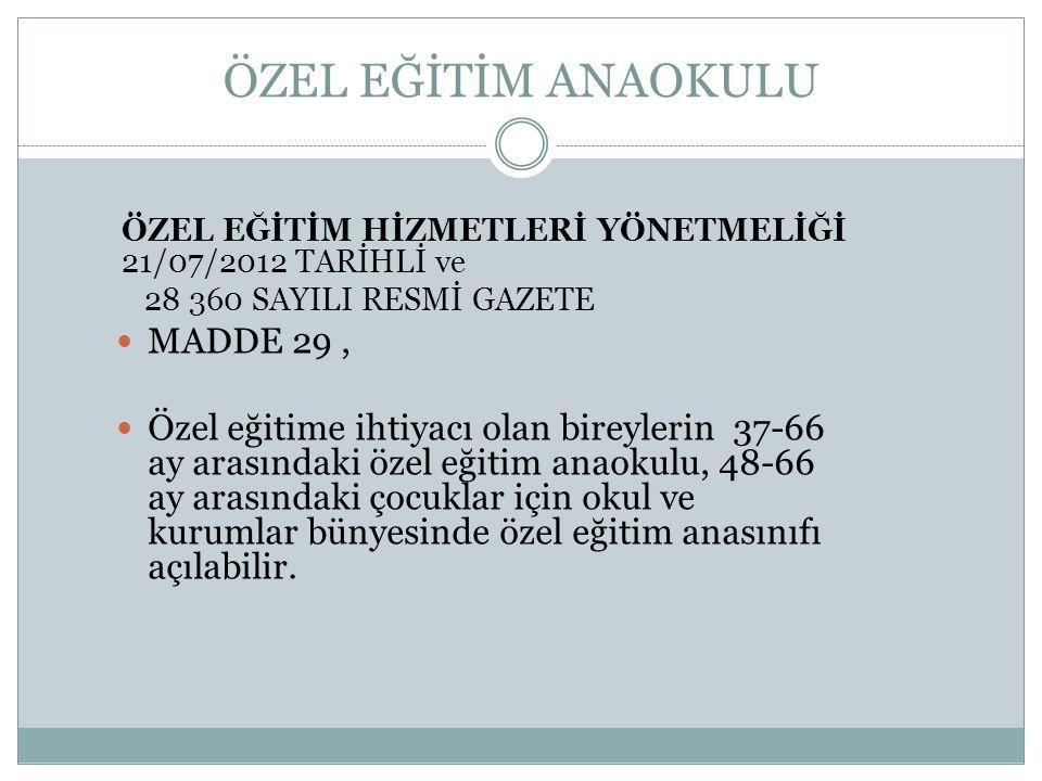 ÖZEL EĞİTİM ANAOKULU MADDE 29 ,