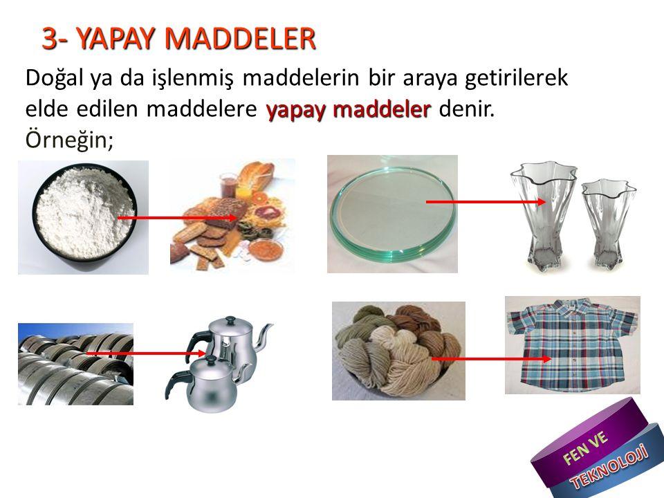 3- YAPAY MADDELER Doğal ya da işlenmiş maddelerin bir araya getirilerek elde edilen maddelere yapay maddeler denir.