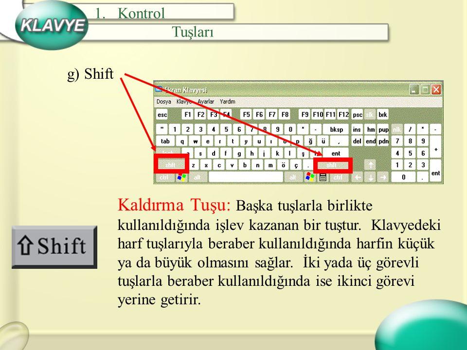 Kontrol Tuşları. g) Shift.
