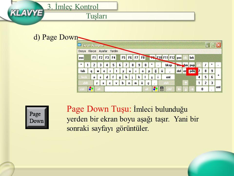 3. İmleç Kontrol Tuşları. d) Page Down.