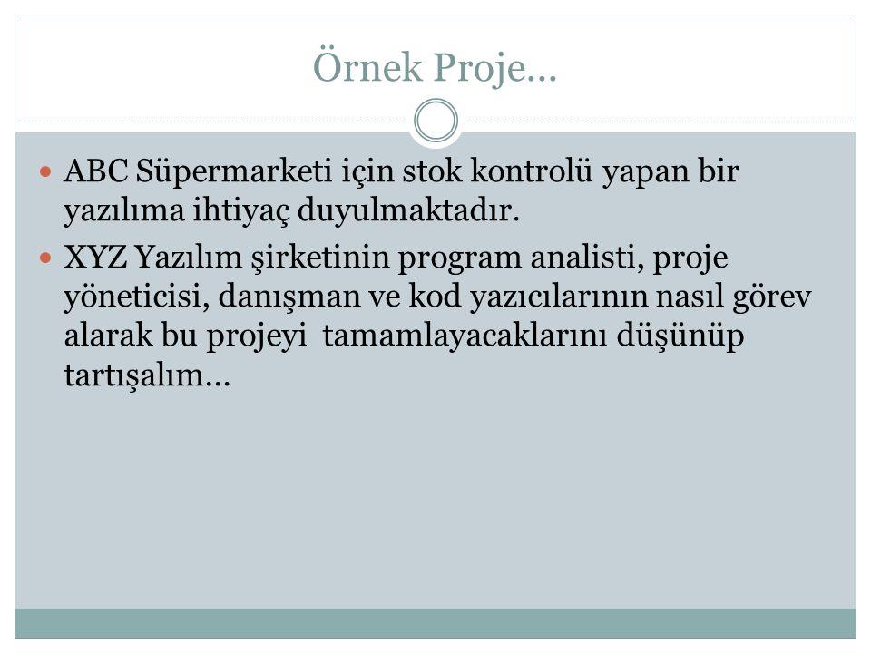 Örnek Proje... ABC Süpermarketi için stok kontrolü yapan bir yazılıma ihtiyaç duyulmaktadır.