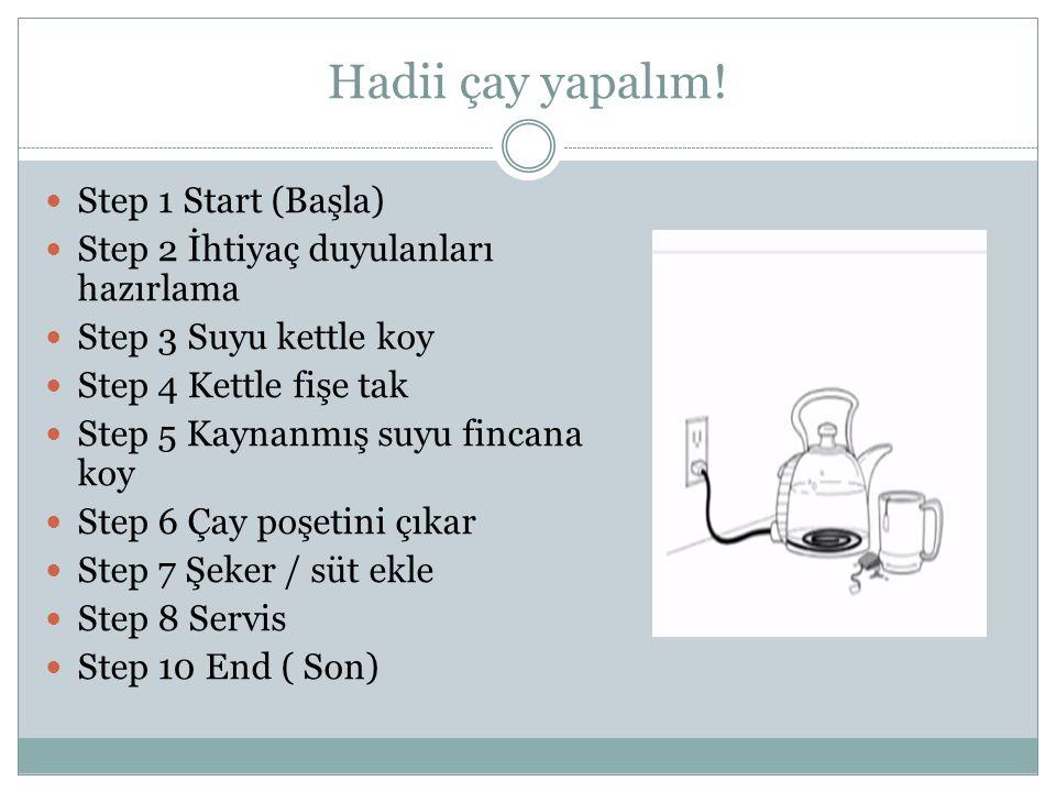 Hadii çay yapalım! Step 1 Start (Başla)