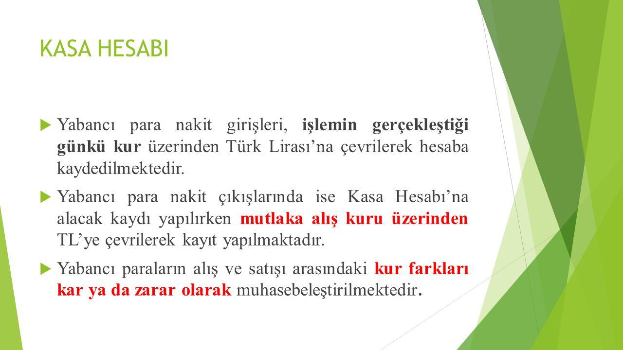 KASA HESABI Yabancı para nakit girişleri, işlemin gerçekleştiği günkü kur üzerinden Türk Lirası'na çevrilerek hesaba kaydedilmektedir.