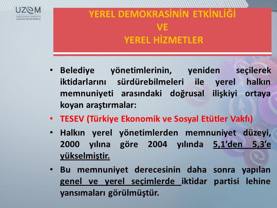 YEREL DEMOKRASİNİN ETKİNLİĞİ VE YEREL HİZMETLER
