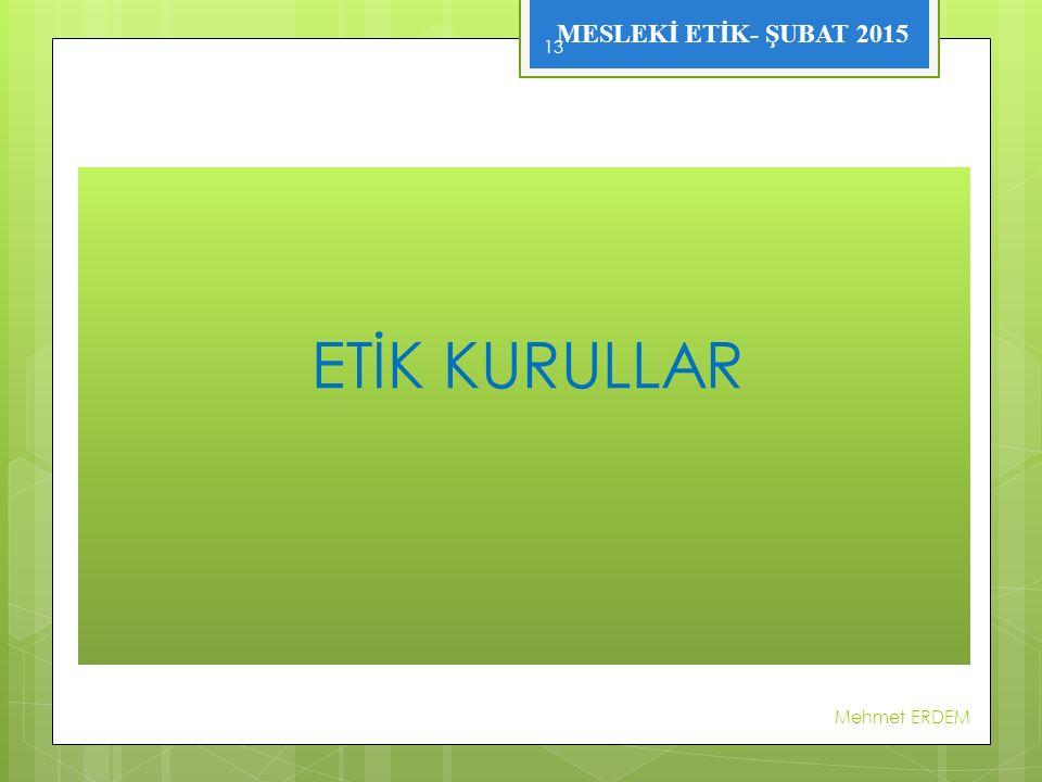 ETİK KURULLAR Mehmet ERDEM