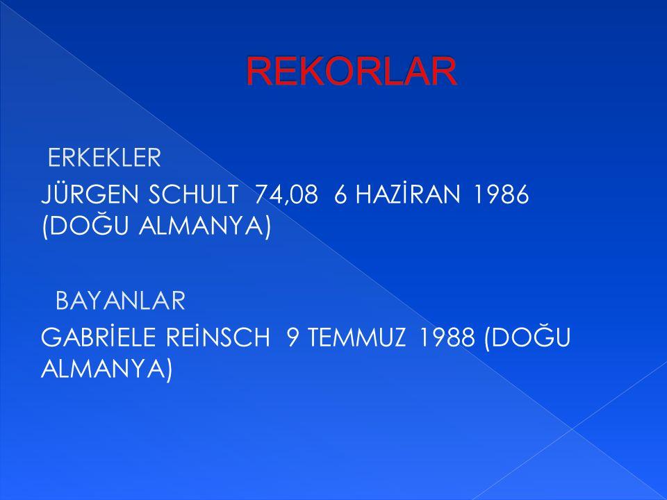 REKORLAR ERKEKLER JÜRGEN SCHULT 74,08 6 HAZİRAN 1986 (DOĞU ALMANYA) BAYANLAR GABRİELE REİNSCH 9 TEMMUZ 1988 (DOĞU ALMANYA)