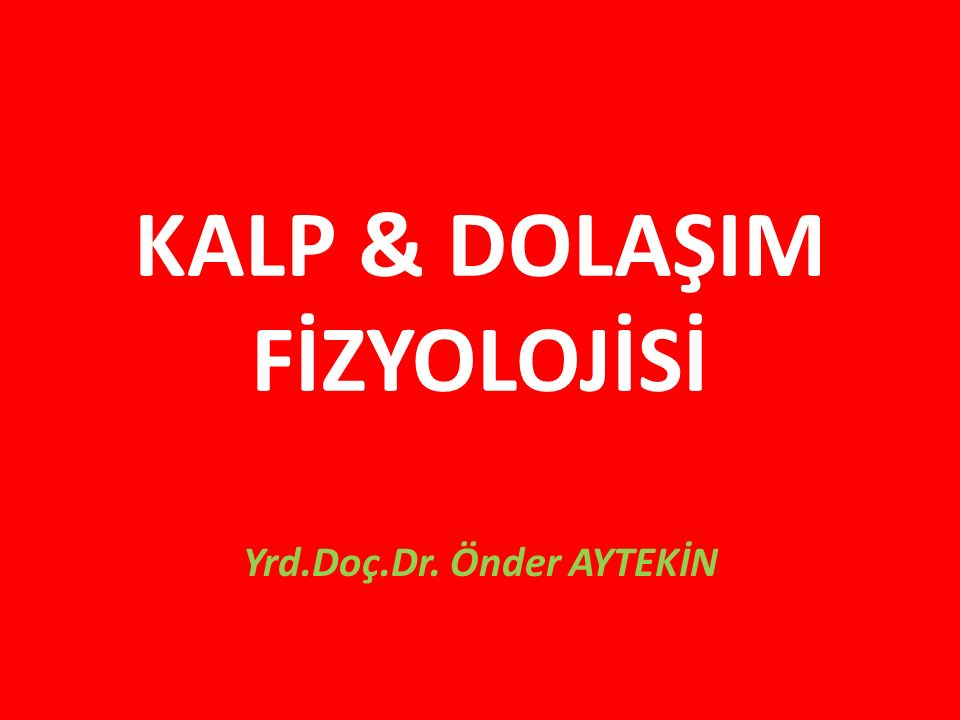 KALP & DOLAŞIM FİZYOLOJİSİ