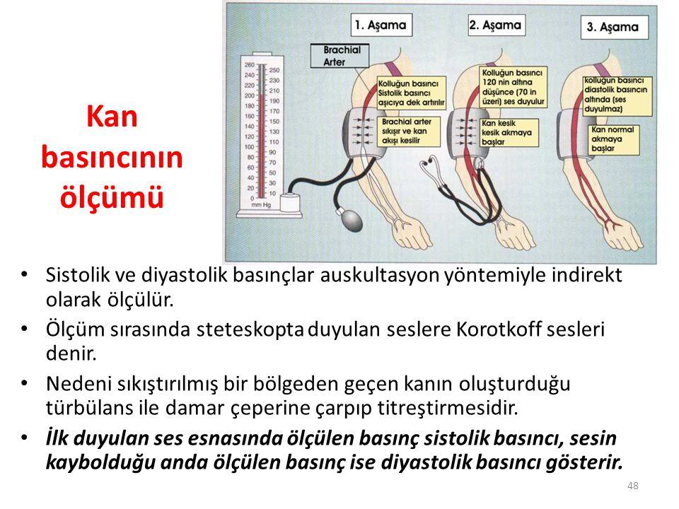Kan basıncının ölçümü Sistolik ve diyastolik basınçlar auskultasyon yöntemiyle indirekt olarak ölçülür.