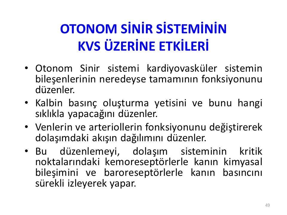 OTONOM SİNİR SİSTEMİNİN KVS ÜZERİNE ETKİLERİ
