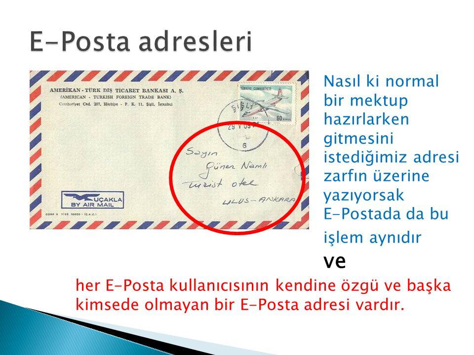 E-Posta adresleri Nasıl ki normal bir mektup hazırlarken gitmesini istediğimiz adresi zarfın üzerine yazıyorsak.