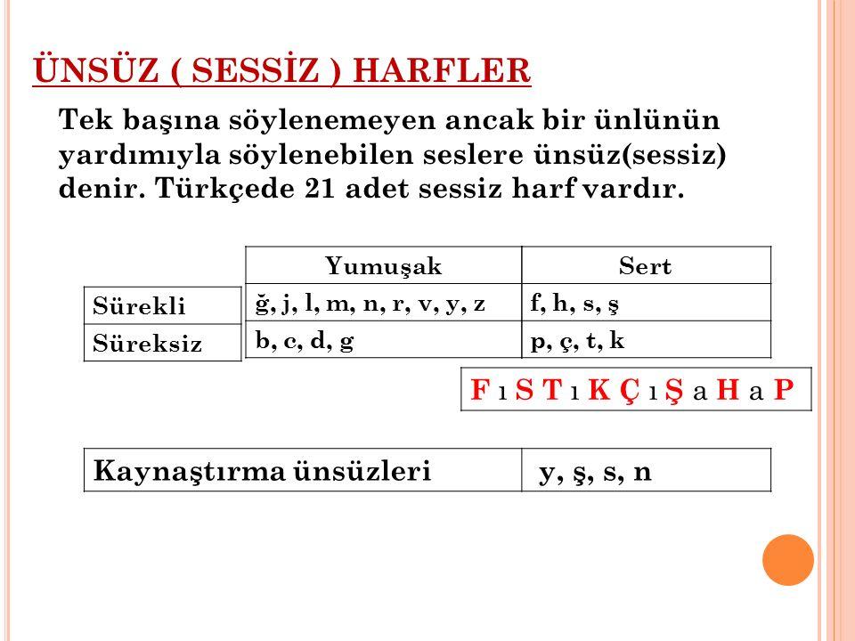 ÜNSÜZ ( SESSİZ ) HARFLER Tek başına söylenemeyen ancak bir ünlünün yardımıyla söylenebilen seslere ünsüz(sessiz) denir. Türkçede 21 adet sessiz harf vardır.