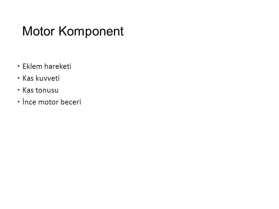 Motor Komponent Eklem hareketi Kas kuvveti Kas tonusu