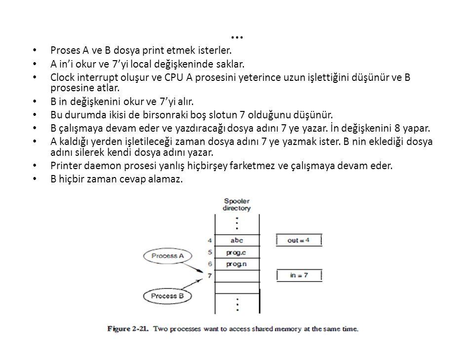 … Proses A ve B dosya print etmek isterler.