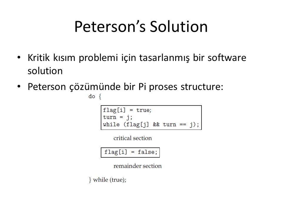 Peterson's Solution Kritik kısım problemi için tasarlanmış bir software solution.