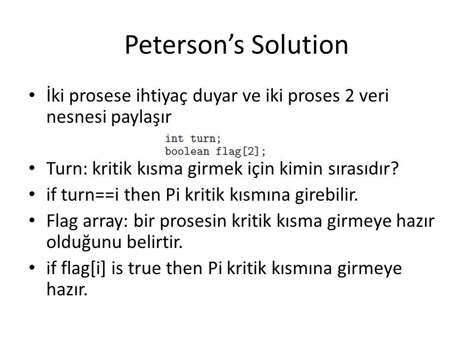 Peterson's Solution İki prosese ihtiyaç duyar ve iki proses 2 veri nesnesi paylaşır. Turn: kritik kısma girmek için kimin sırasıdır