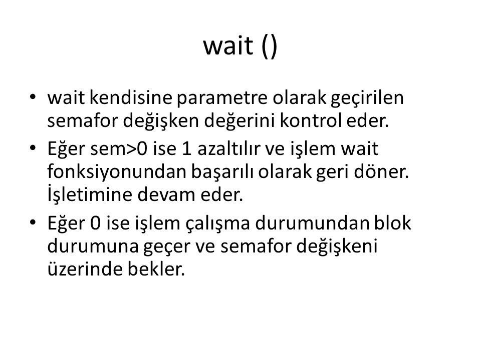 wait () wait kendisine parametre olarak geçirilen semafor değişken değerini kontrol eder.