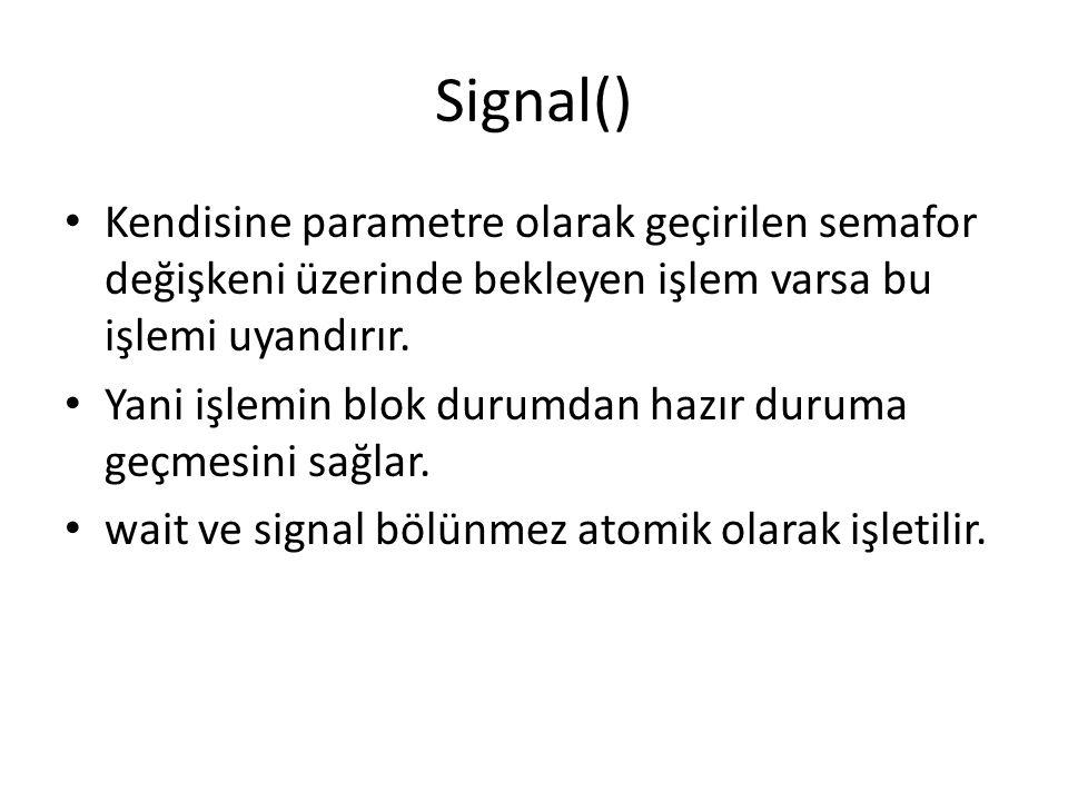 Signal() Kendisine parametre olarak geçirilen semafor değişkeni üzerinde bekleyen işlem varsa bu işlemi uyandırır.