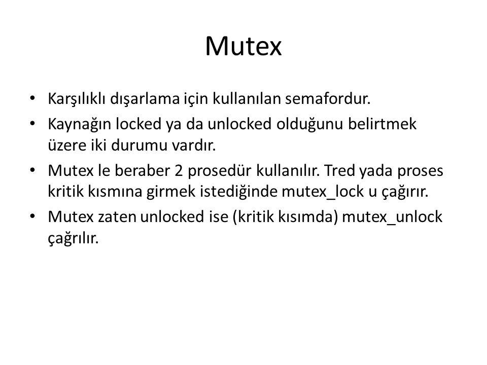 Mutex Karşılıklı dışarlama için kullanılan semafordur.